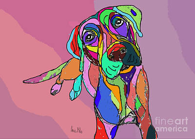 Ania Digital Art - Dog Sketch Psychedelic  01 by Ania Milo