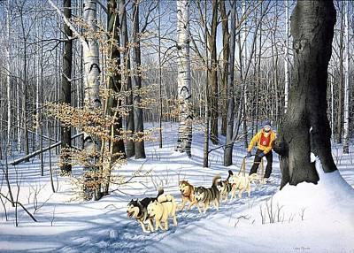 Dog-sled Racing Art Print by Conrad Mieschke