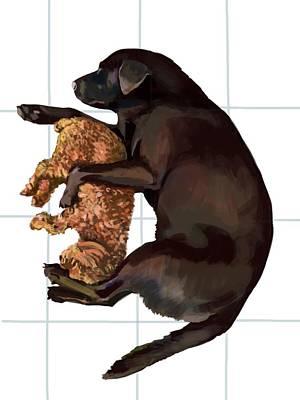 Labrador Digital Art - Dog Snoozing by Plum Ovelgonne
