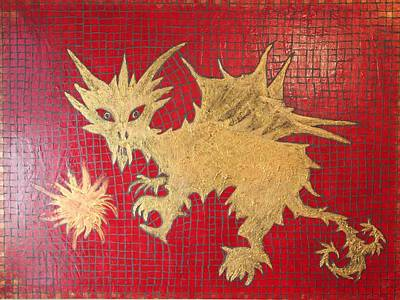 Dog Spikey The Dragon And Elizabeth The Fireball Art Print by Tracy Fetter