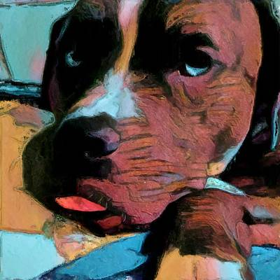 Painting - Dog Sticking Out His Tongue In Blue Yellow And Red Super Cute Adorable Puppy by MendyZ