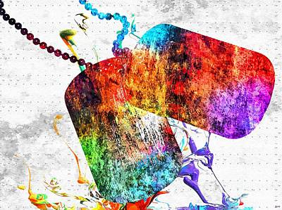 Abstract Of Dogs Mixed Media - Dog Tag Grunge by Daniel Janda