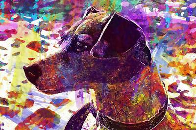 Dog Terrier Beach Pet Greyhound  Art Print