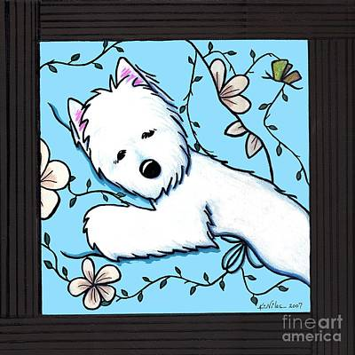 Kiniart Painting - Dog Tired Westie IIi by Kim Niles