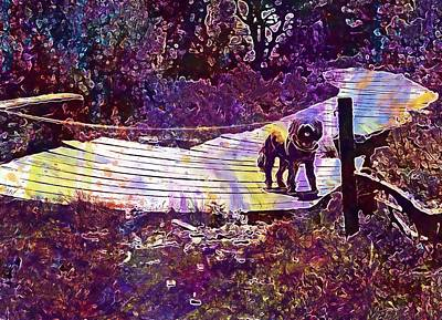 Digital Art - Dog Wait Away Path Look Expect  by PixBreak Art