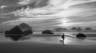 Dog Walker Bw Art Print