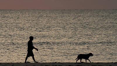 Photograph - Dog Walker Dawn Delray Beach Florida by Lawrence S Richardson Jr