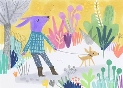 Dog Walking Dog Art Print by Kate Cosgrove