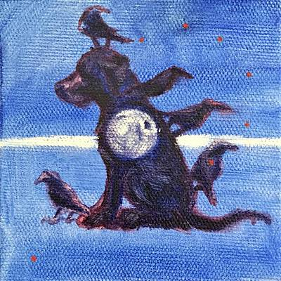 Painting - Dog With Moon And Five Crows by Suzanne V Paddock