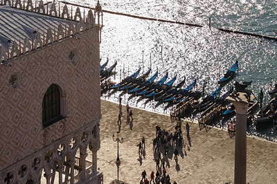 Photograph - Doges Palace In Venice - Long Shadows And Brilliant Waters From Above by Georgia Mizuleva