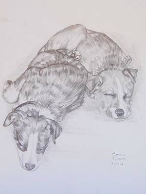 Drawing - Doggies by Emma Lyon