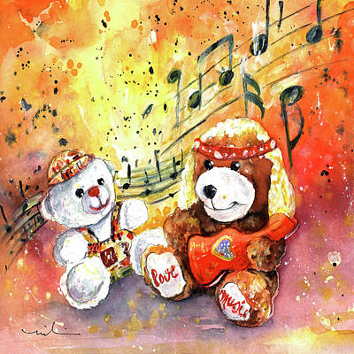 Doggy Guitar And His Roadie Art Print by Miki De Goodaboom