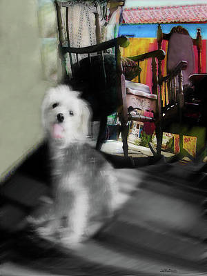 Digital Art - Dogie In The Patio Art  by Miss Pet Sitter