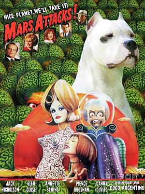 Painting - Dogo Argentino Art Canvas Print - Mars Attacks Movie Poster by Sandra Sij