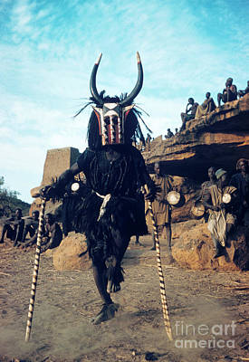 Dogon Dancer Wearing Mask, Sudanese Republic Art Print by The Harrington Collection