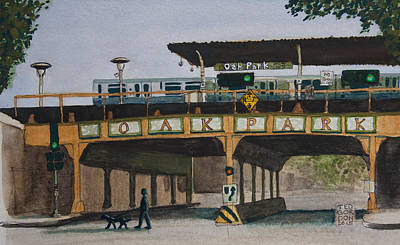 Painting - Dogs and Trains in the Village by Ted Gordon