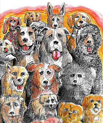 Painting - Dogs At Attention by Terry Banderas