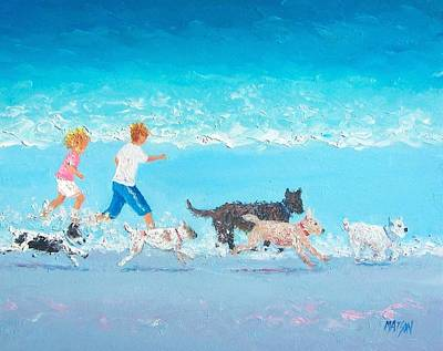 Children On The Beach Painting - Dogs Day Out by Jan Matson