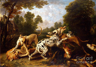 Clearing Painting - Dogs Fighting In A Wooded Clearing by Celestial Images