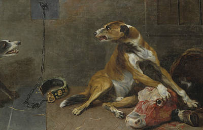 Painting - Dogs Fighting Over A Flayed Ox's Head by Workshop of Frans Snyders