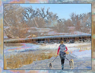 Friends Forever Digital Art - Dogs Happy Trail Trekkers by Gretchen Wrede
