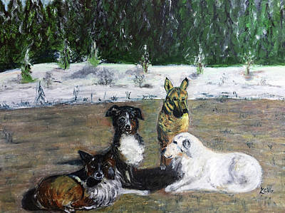 Painting - Dogs Having A Meeting by Lucille Valentino
