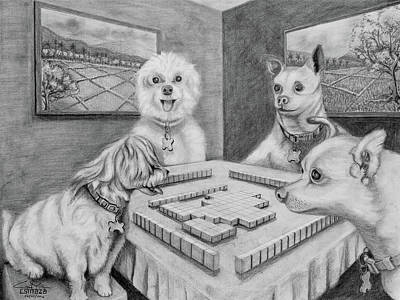 Drawing - Dogs Playing Mahjong by Cyril Maza