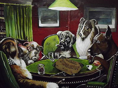 Dogs Playing Poltergeist Art Print by Rachel Parry