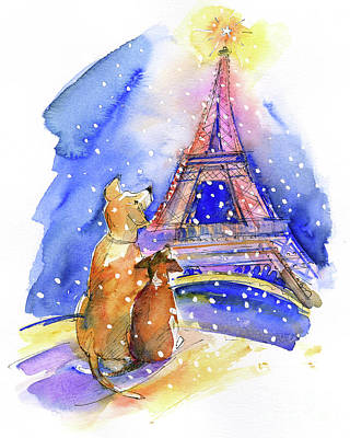 Dogs With Eiffel Tower Art Print