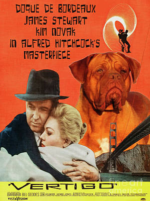 Painting - Dogue De Bordeaux Art Canvas Print - Vertigo Movie Poster by Sandra Sij