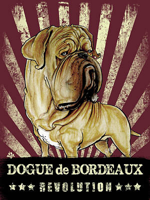 Canines Drawing - Dogue De Bordeaux Revolution by John LaFree