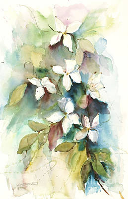 Print featuring the painting Dogwood Branch by Sandra Strohschein