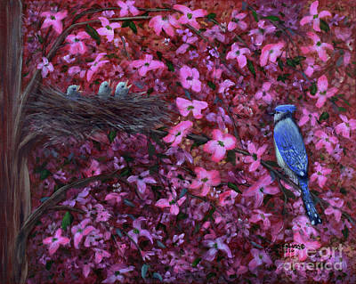 Bluejay Painting - Dogwood Haven by Kristi Roberts