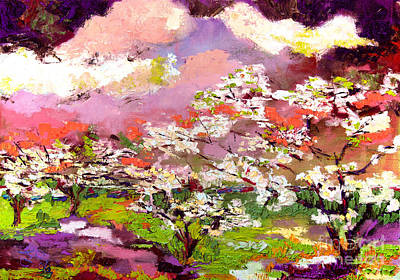 Painting - Impressionist Oil Dogwood Trees by Ginette Callaway