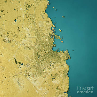 Geography Digital Art - Doha Topographic Map Natural Color Top View by Frank Ramspott
