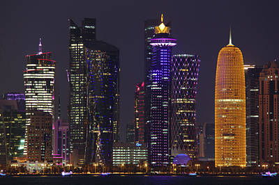 Photograph - Doha Towers At Night by Paul Cowan