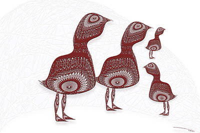 Wall Art - Digital Art - Doily Birds by Warren Lynn