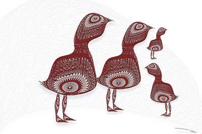 Doily Digital Art - Doily Birds by Warren Lynn