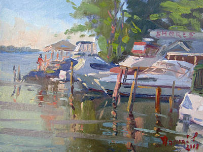 Shore Painting - Docks At The Shores  by Ylli Haruni