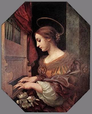 Dolci Carlo St Cecilia At The Organ Art Print