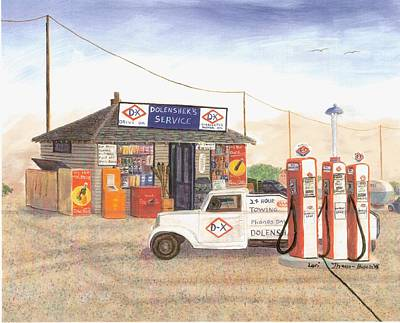 Service Station Painting - Dolensheks D-x Service by Lori  Theim-Busch