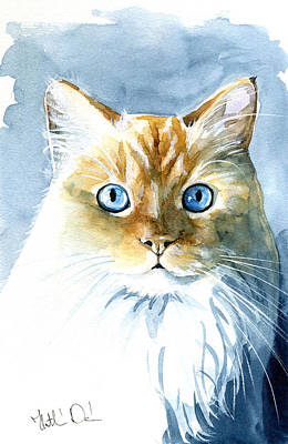 Doll Face Flame Point Himalayan Cat Painting Art Print
