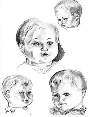 Drawing - Doll Faces by John Keaton