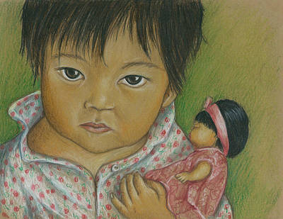 Drawing - Doll Love by Linda Nielsen