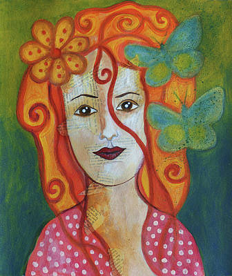 Mixed Media - Doll Painting 1 Butterfly by Christine MARTIN