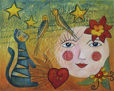 Painting - Doll Painting 2 Moon And Cat by Christine MARTIN