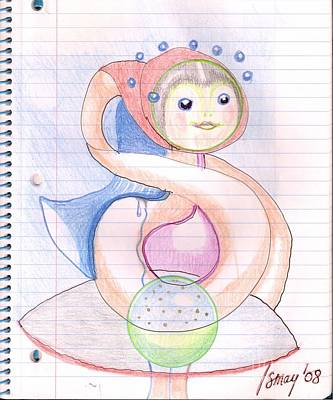 Drawing - Doll With A Big Heart For The Universe by Rod Ismay
