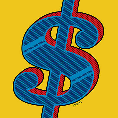 Digital Art - Dollar Sign Blue by Ron Magnes