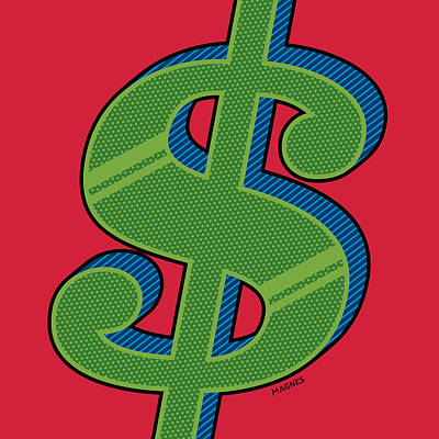Earnings Digital Art - Dollar Sign Green by Ron Magnes