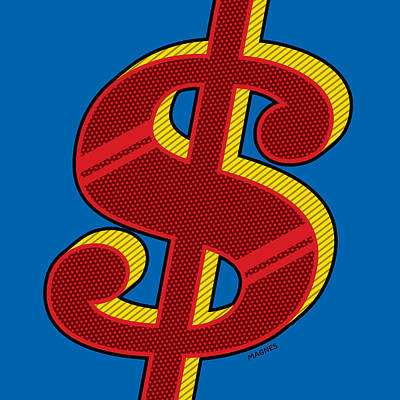 Digital Art - Dollar Sign Red by Ron Magnes